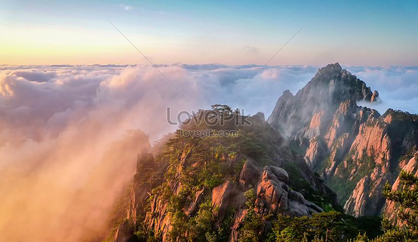 gündoğumu yunhai huangshan manzarası