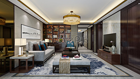 New Chinese Living Room Interior Design Effect Map