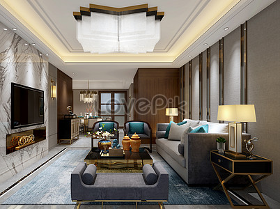 New Chinese Living Room Interior Design Effect Map Photo