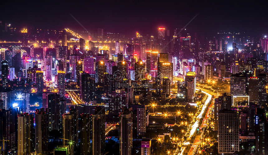 A colorful city night view photo image_picture free ...  A colorful city...