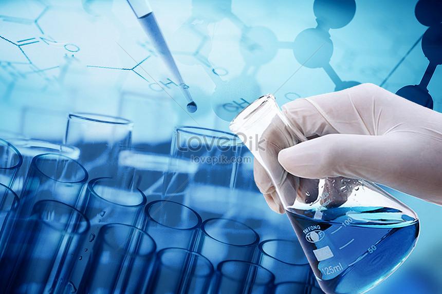latar belakang molekul eksperimen yang biru