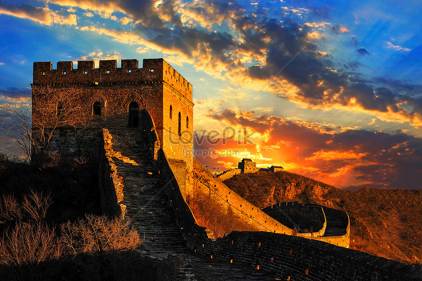 grote muur in de zonsondergang
