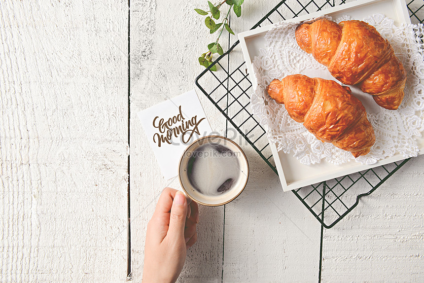 breakfast of delicious nutritious croissants
