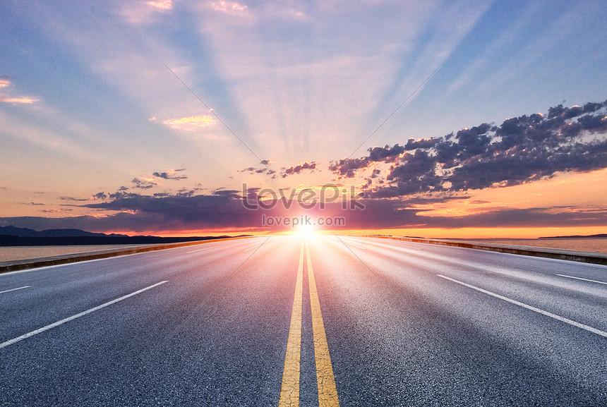 setting sun road background