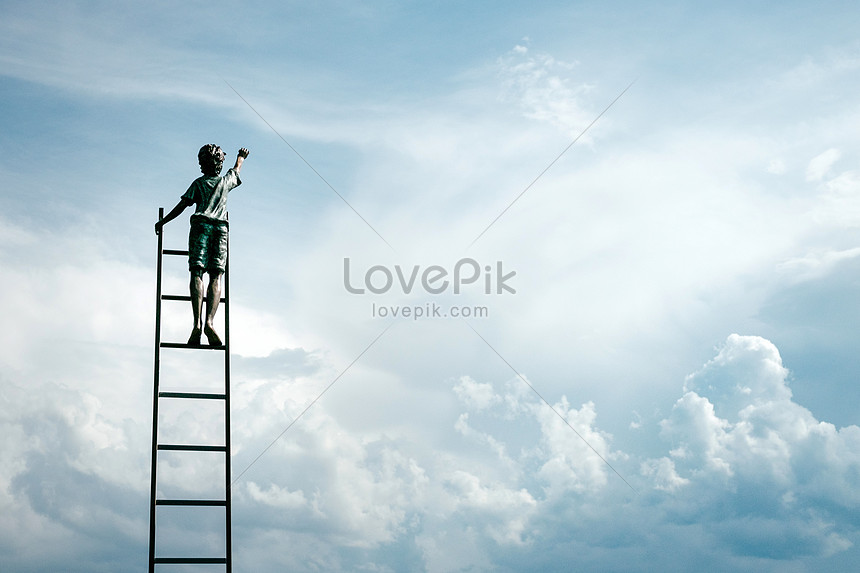 a child looking up at the sky
