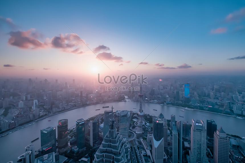 Pusat Kewangan Dunia Shanghai Pemandangan Matahari Terbenam Yan