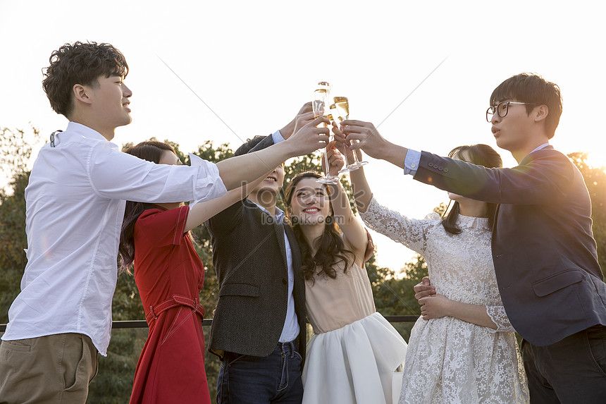 youth parties celebrate with glasses and drinks
