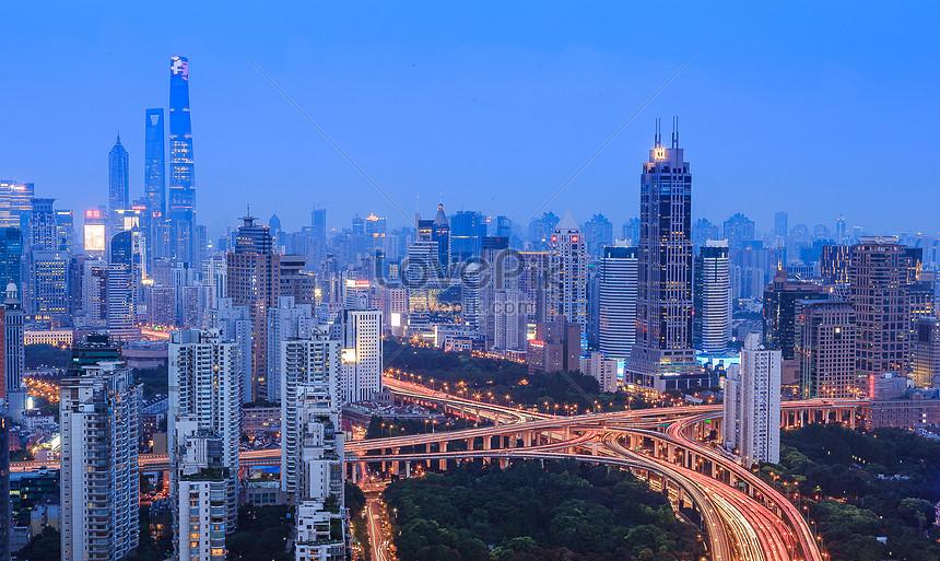 the night scenery of shanghai city