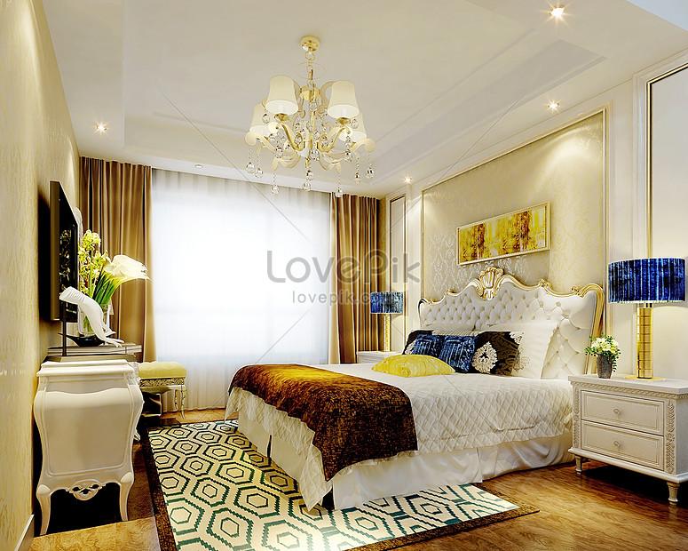Photo de rendus de décoration intérieure de chambre à ...