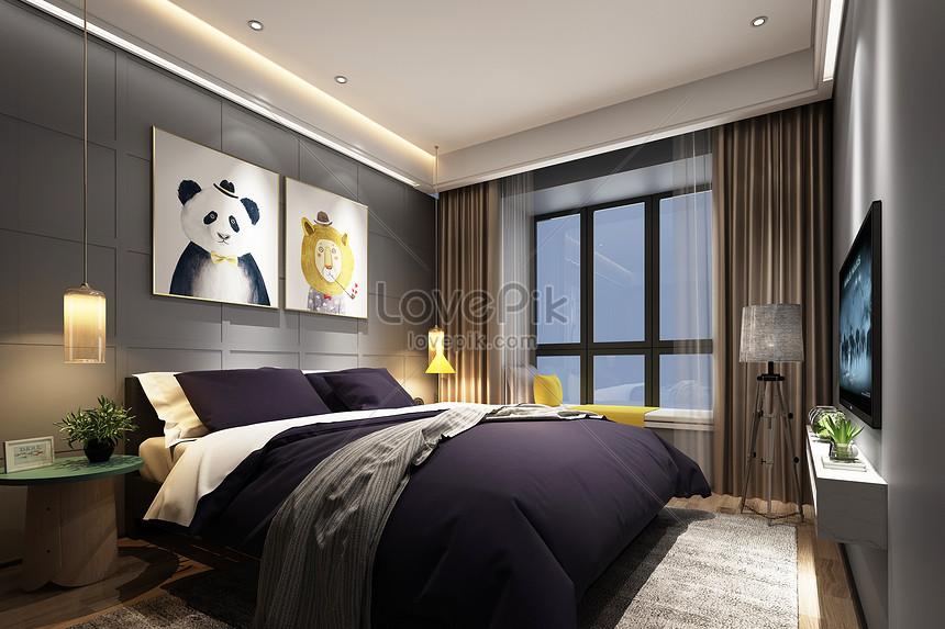 Ruang Bilik Tidur Moden Gambar Unduh
