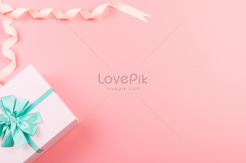 a pink gift box with a white background