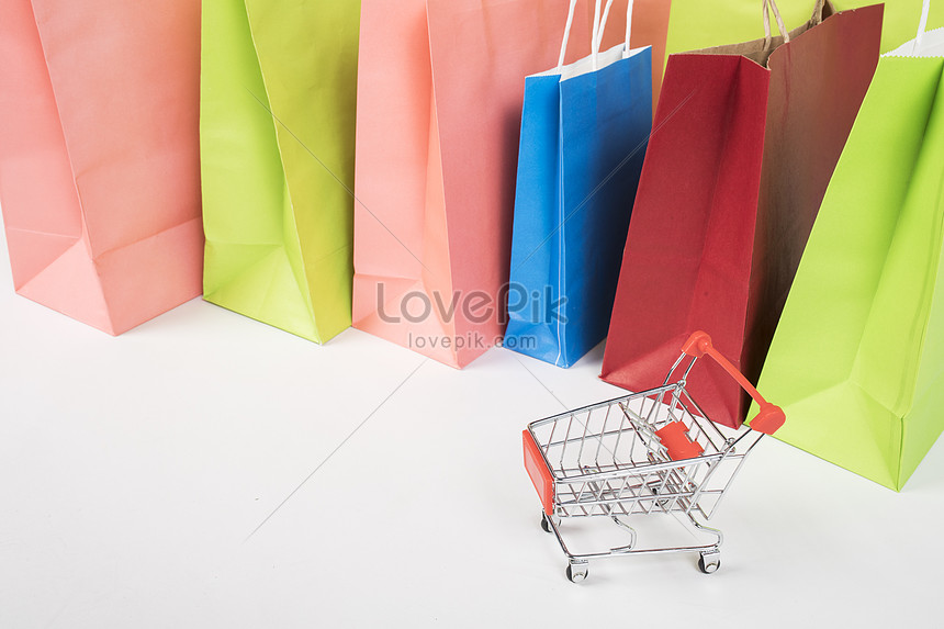 color shopping bag still life