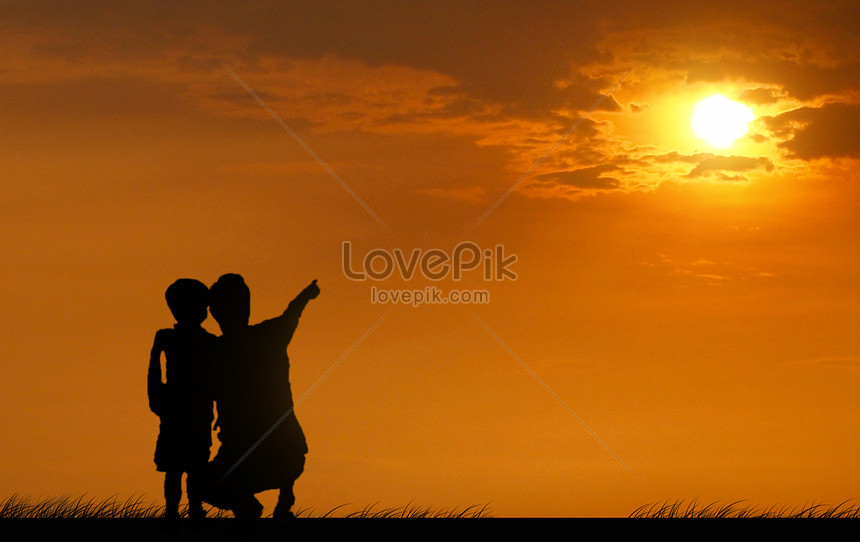 The shadow of the father and son under the sunset creative image_picture  free download 500852067_lovepik.com