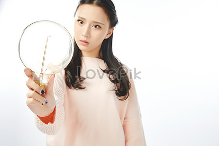 young girls are inspired by light bulbs photo image picture free
