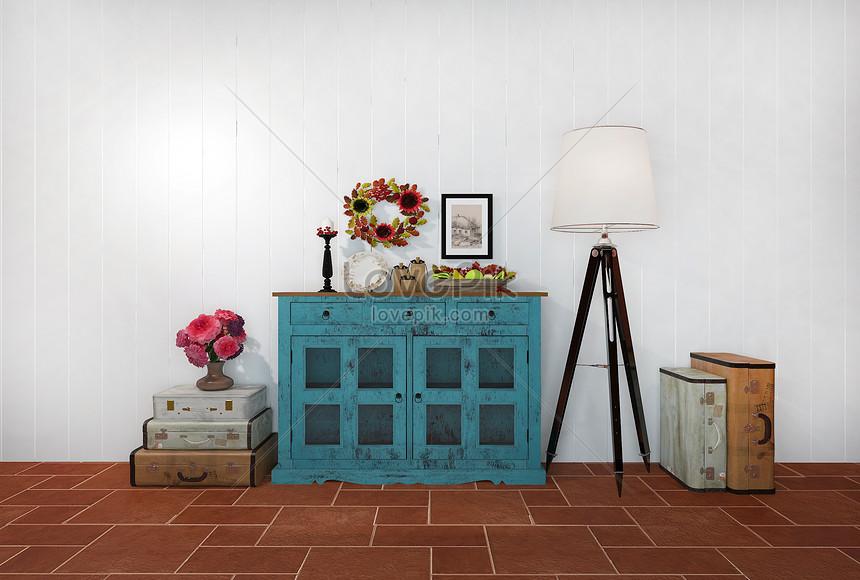 retro combinación lámpara pie de Imagen de mueble con f7yYgb6