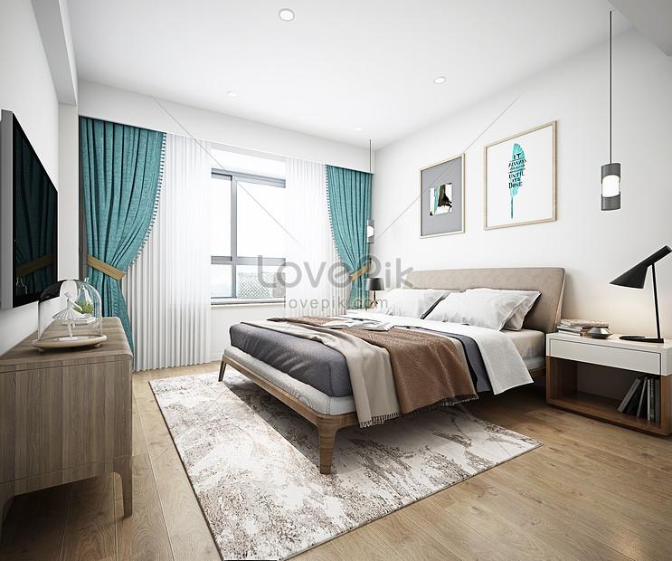Intérieur Moderne De Chambre à Coucher De Style Nordique