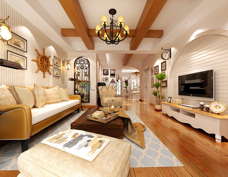 Indoor effect map of mediterranean style living room photo ...