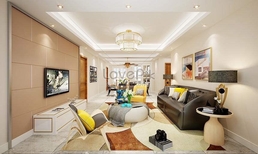 rendering di interior design moderno soggiorno in stile nordico ...