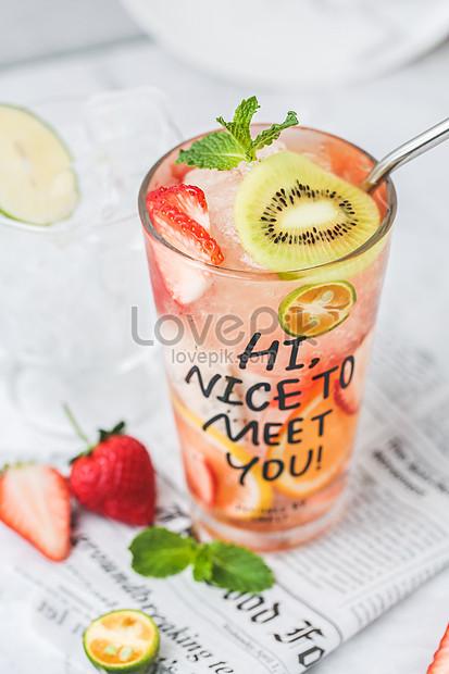summer ice fruit tea soda water drink
