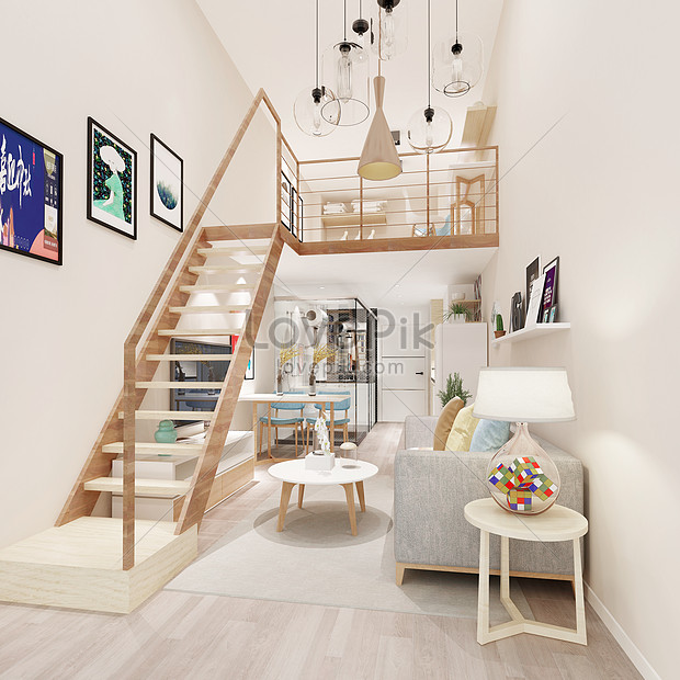 Small Apartment Loft Panoramic Living Room On The Second Floor O Photo Image Picture Free Download 500922811 Lovepik Com