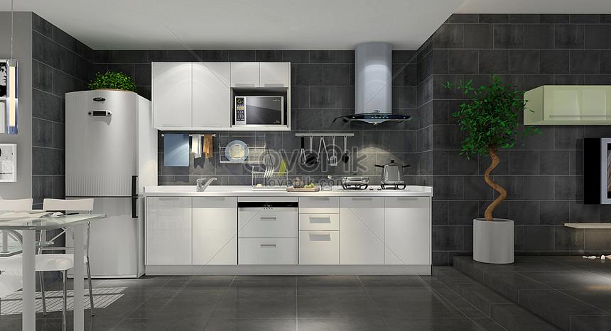 Photo de cuisine moderne noire et blanche grise_Numéro de l ...