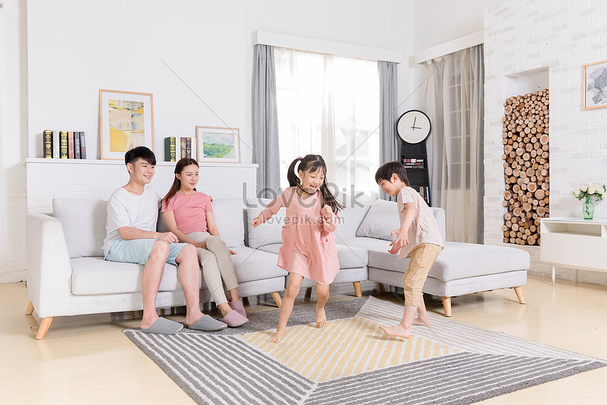 children play and play in the living room