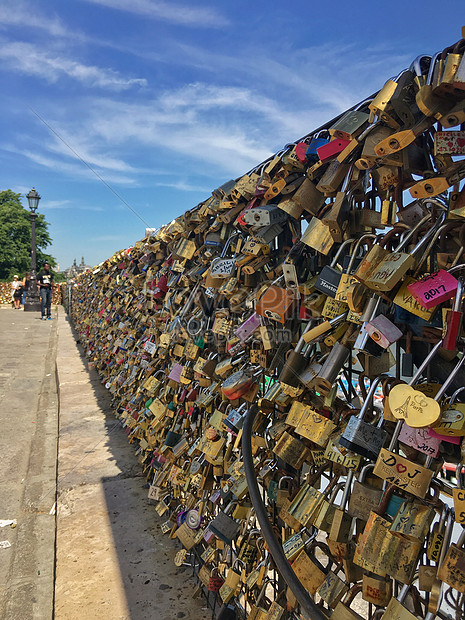 love concentric lock on seine river in paris
