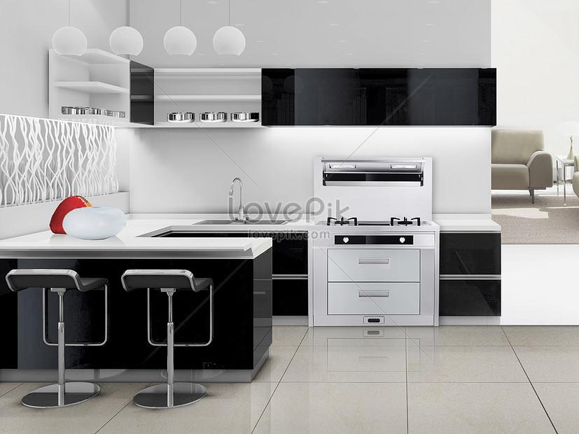 Representaciones Modernas De Cocina Gris Blanco Y Negro Imagen