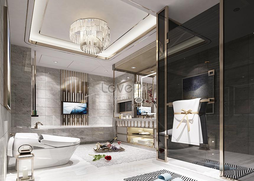 Photo de rendus de salle de bains de luxe moderne_Numéro de ...