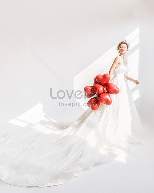 Beauty In Wedding Dress Holding Balloon Photo Image Picture Free
