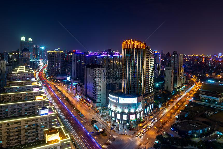 night scenery of shanghai city