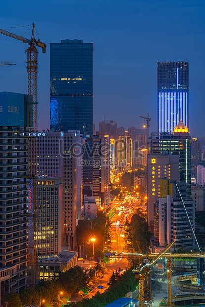 City night view construction site photo image_picture free