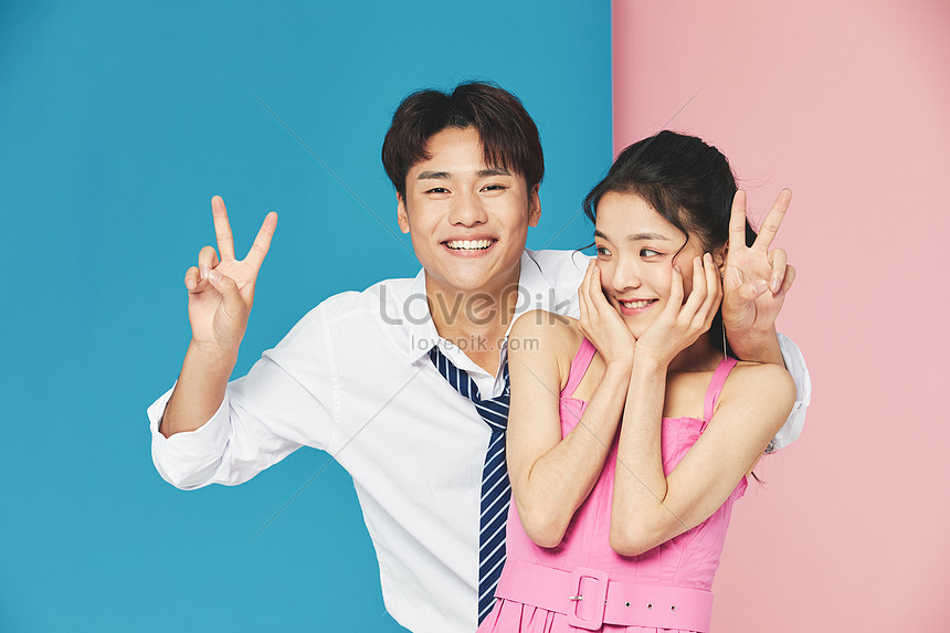creative funny image of young couple
