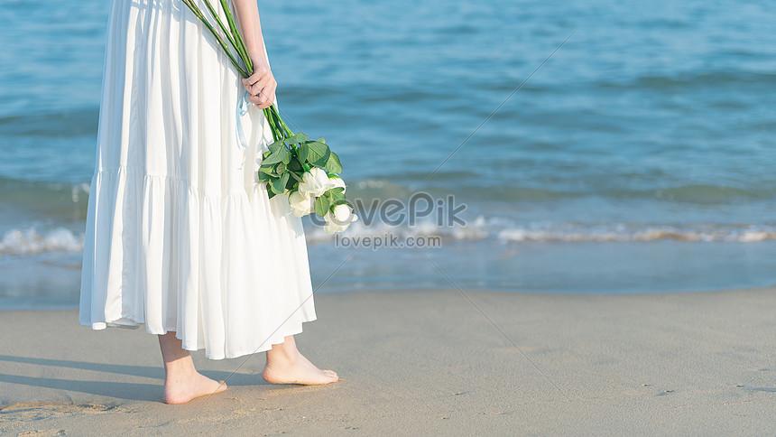 beauty walking by the sea