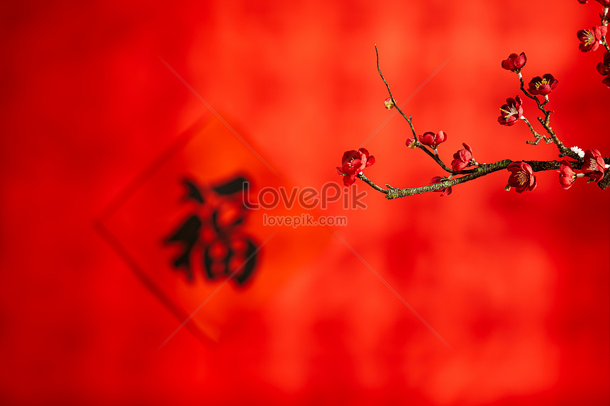 new years day and chinese new year blessing background
