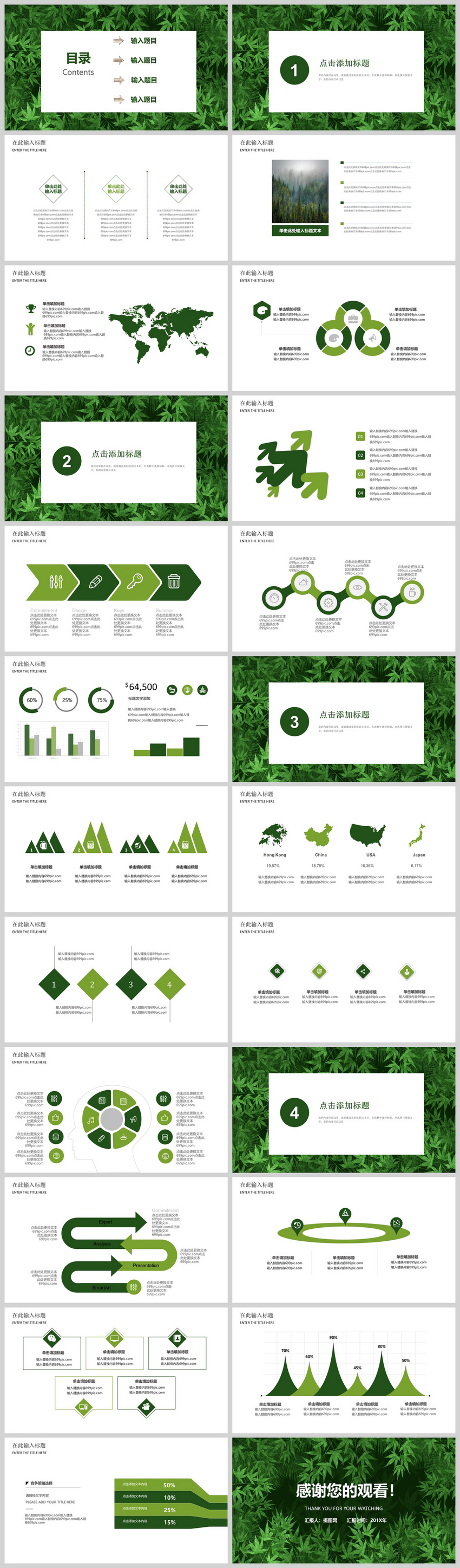 Green background environmental protection energy ppt