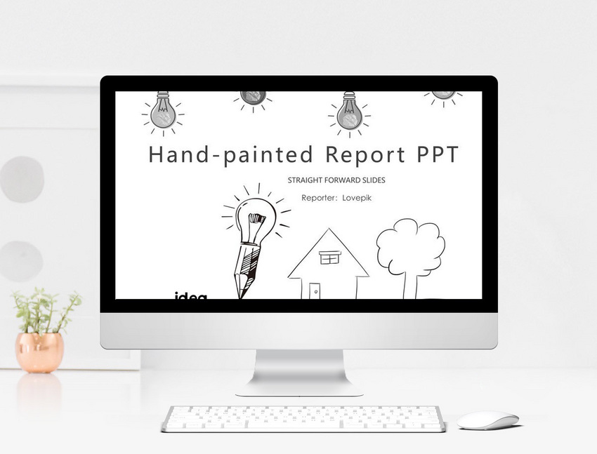 creative black and white hand painted work report ppt template