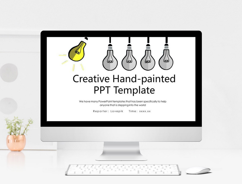 creative hand painted brief work report ppt template