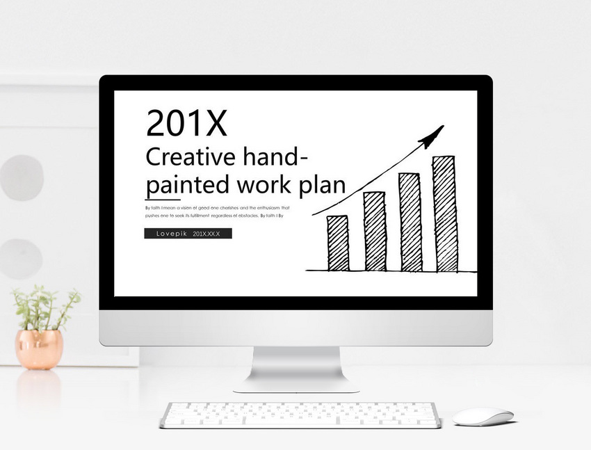 creative black and white hand painted cartoon work report ppt te