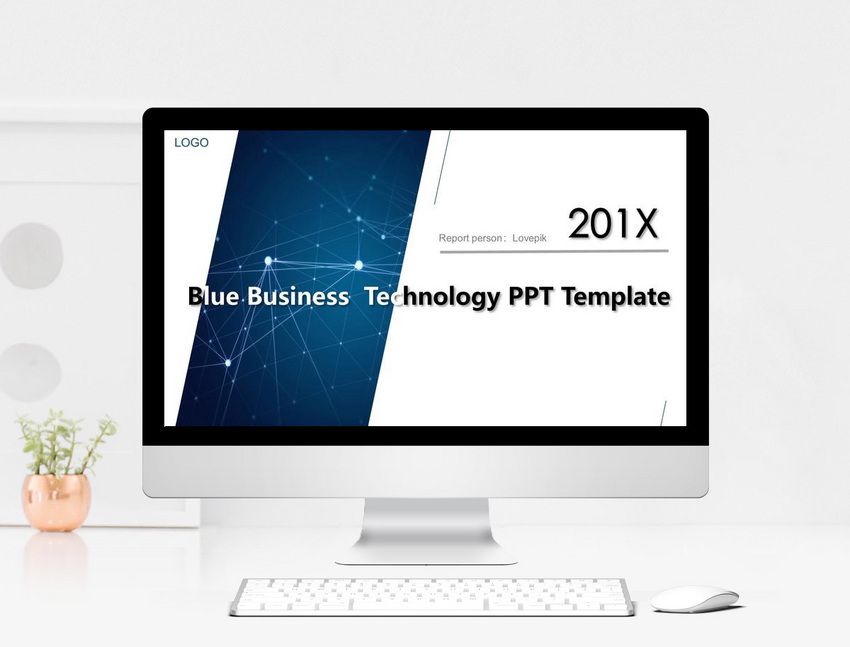 blue simplified atmospheric technology sense work report ppt tem