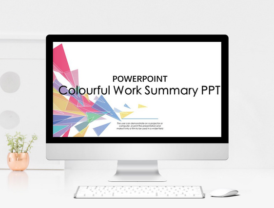cool colorful geometric graphics business summary ppt template
