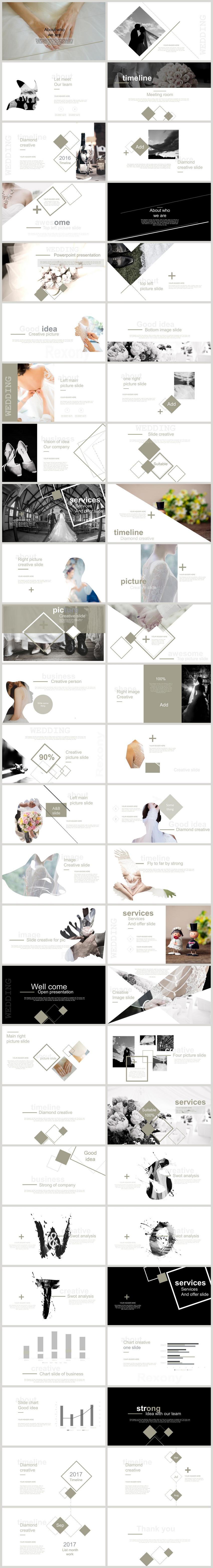 Wedding fashion high end wedding display ppt template