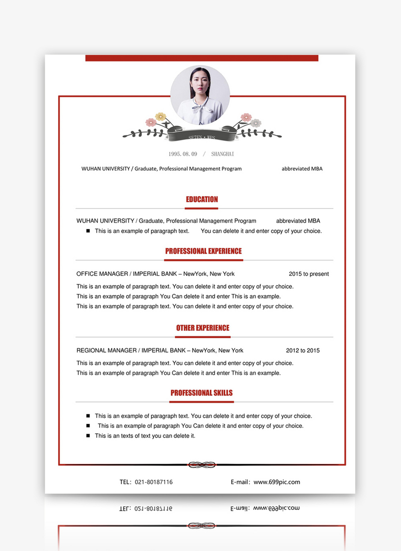 English Resume Template Word Template Word Free Download