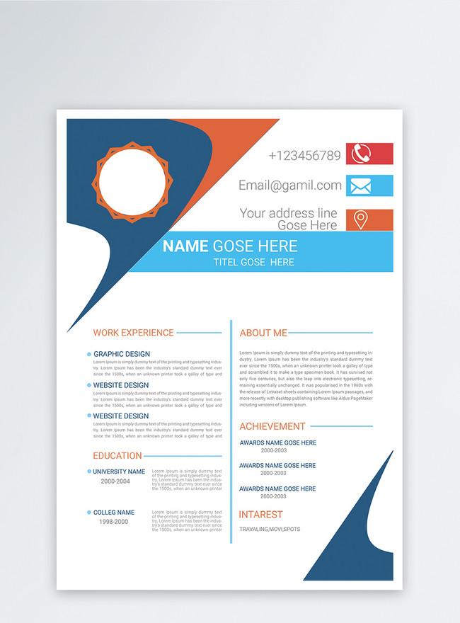simple designer resume with english