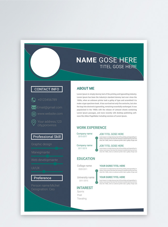 english modern designer resume