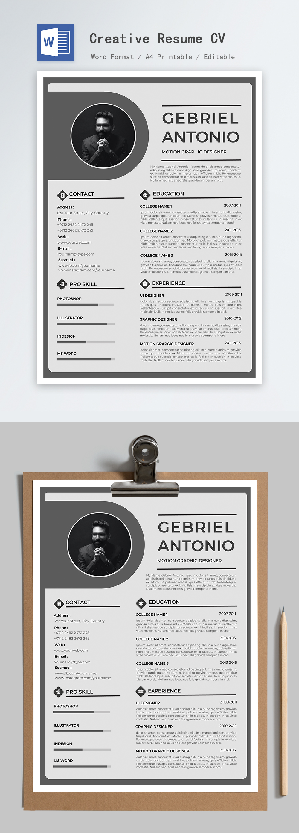 Creative neat professional resume word template_word free ...